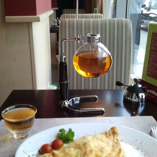омлет + чай в сифоне