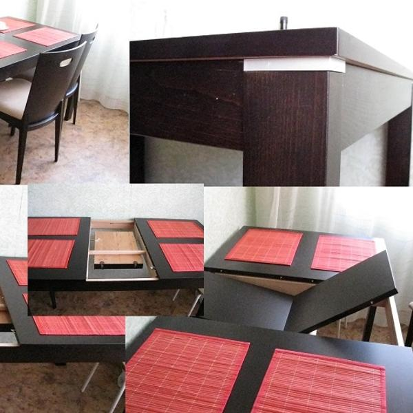Стол раскладывается на 8 персон, в собранном состоянии прекрасно вписывается в кухню 9кв.м.