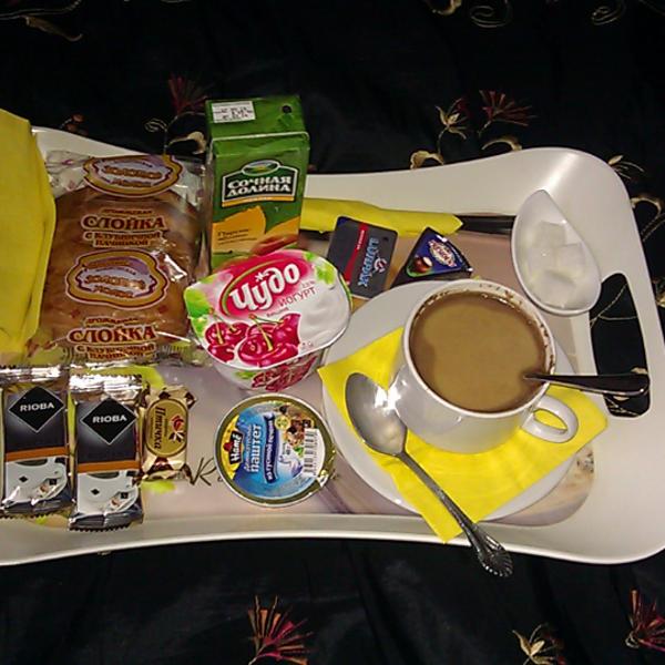 Завтрак со свежим кофе. Кофе был вкусный.