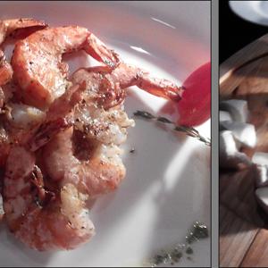 1/3 нашего ужина :)))) Креветки на гриле с соусом Пармезан и сырная тарелка