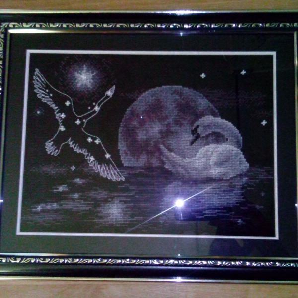 """""""Лунный лебедь"""": багет под серебро с чернением и двойное паспарту (верх - черное, низ - серебряное)"""