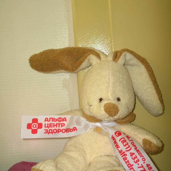 Этого зайчика нам подарили в Альфа-Центр Здоровья, когда делали здесь ребенку рентген)))
