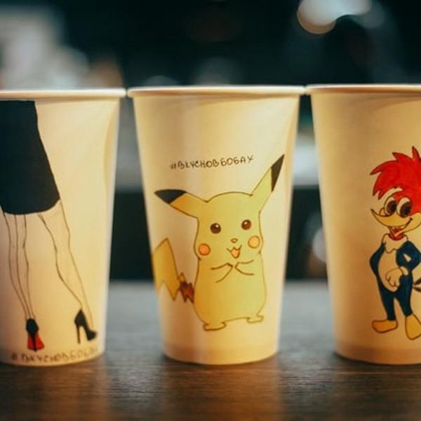 Очень милые стаканчики, разрисованные вручную нашими бариста.