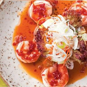 Салат из тигровых креветок