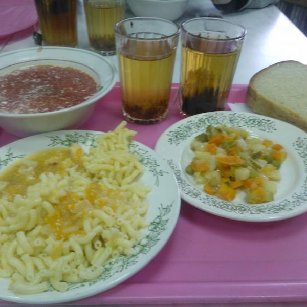 обед(борщ,макароны с куриной подливкой,салат с овощами,компот,чай,хлеб)