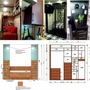 Зеркальная комната Проблемная газовая труба Шкаф с кроватью Прикроватная стойка Внизу проект спальни