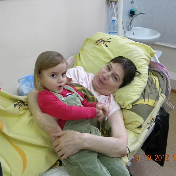 После операции. Визит внучки.
