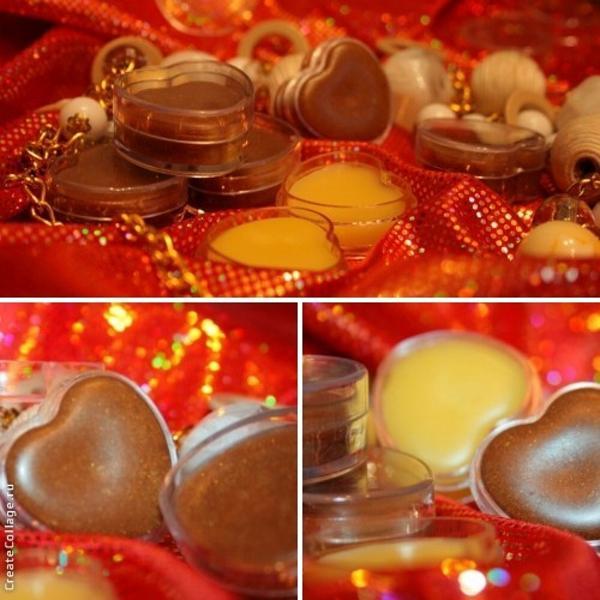 Бальзамы для губ: масло какао, масло ши,миндаля,авокадо,какао-порошок,пигмент золотой