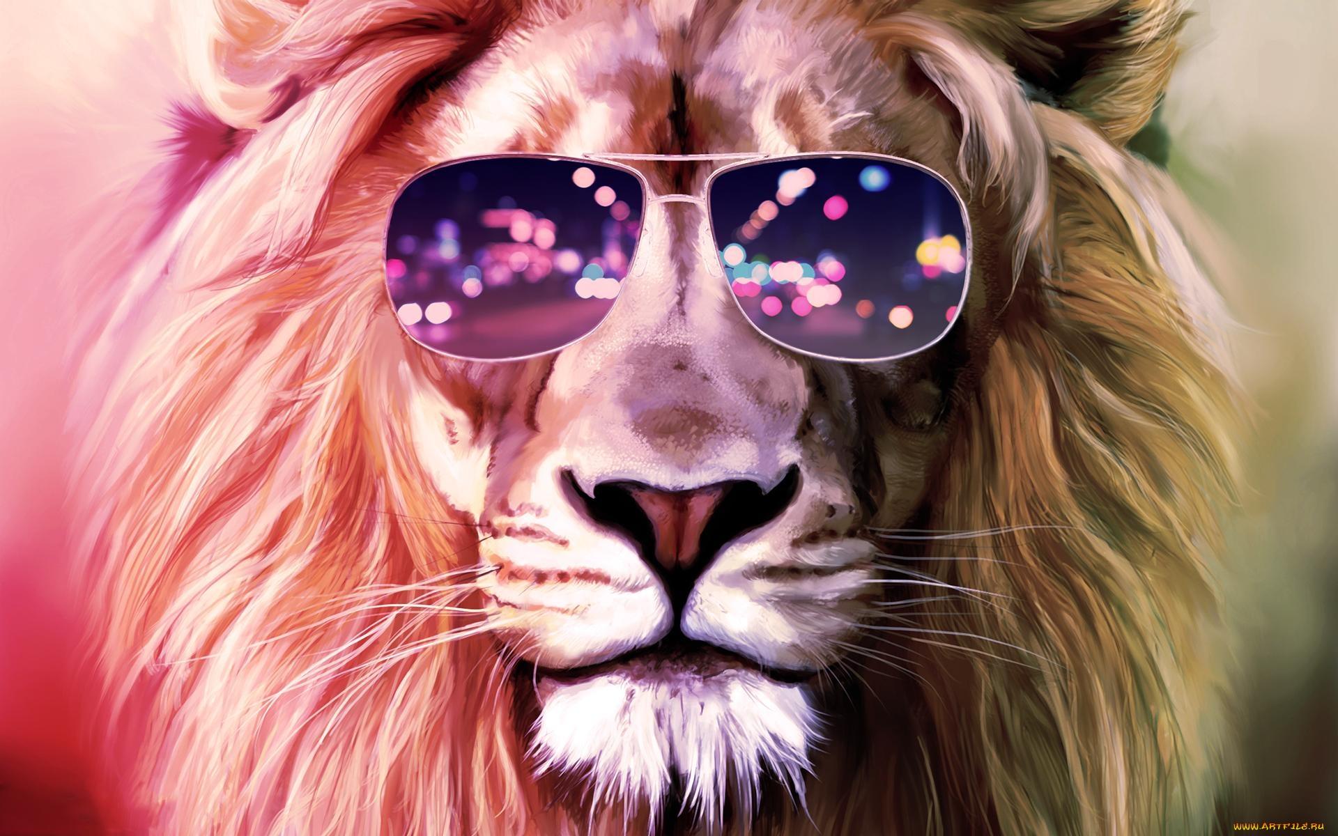 Картинка лев в очках