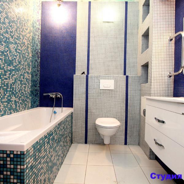 Отделка ванной комнаты мозаикой. Дизайнерский проект. Цена с учетом замены всех труб - 67 000р.