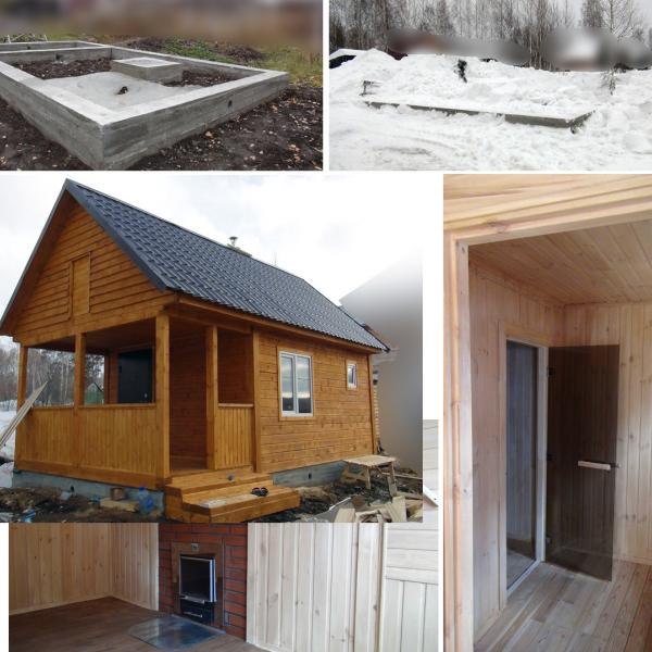 Фундамент, Весенние раскопки, Готовая продукция, Дверь в парилку, Печь с каминным окном