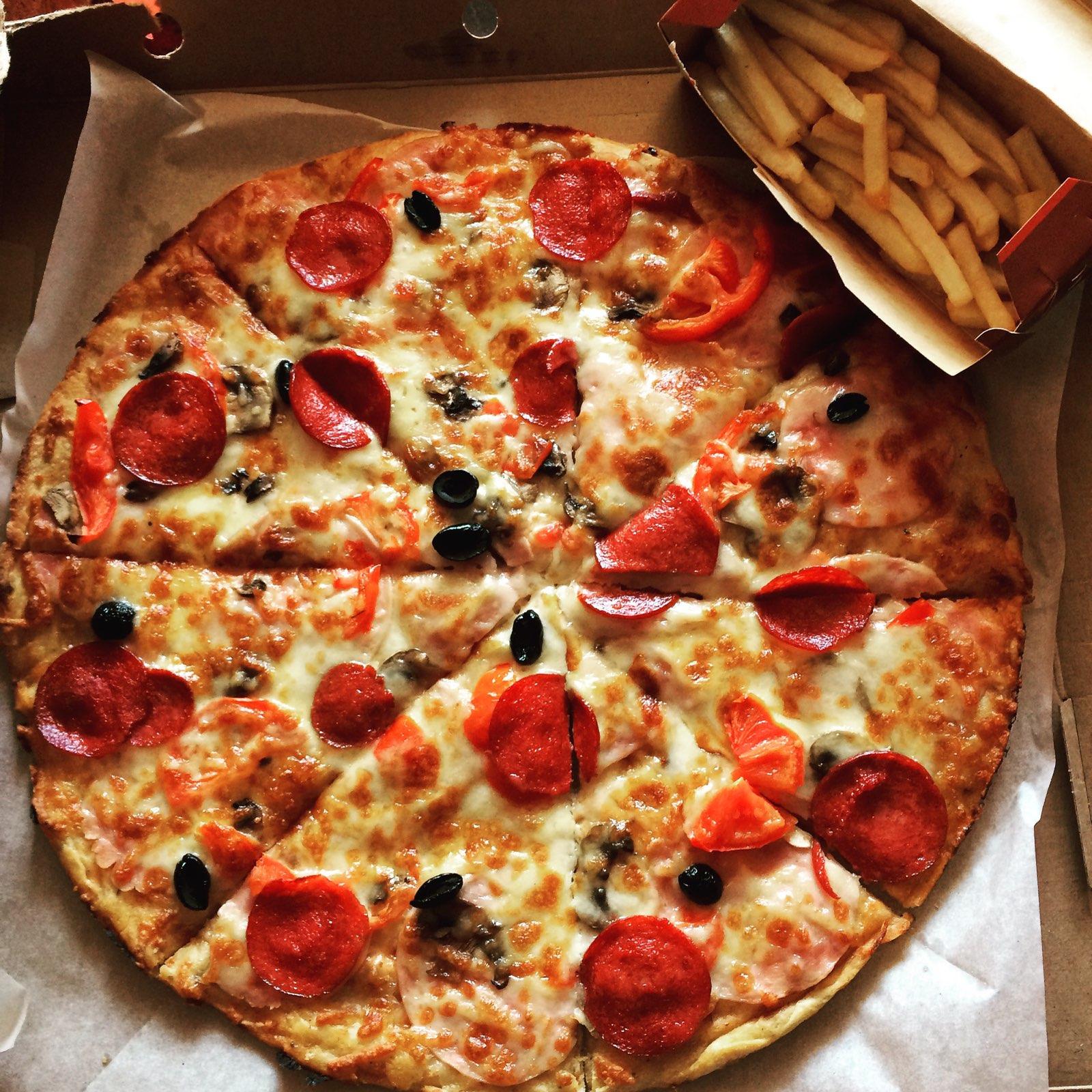 фото пиццы дома в коробке здоровья удачи, большой