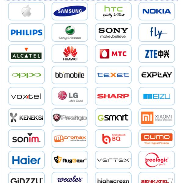 Бренды телефонов и смартфонов, которые мы ремонтируем платно и по гарантии производителя.