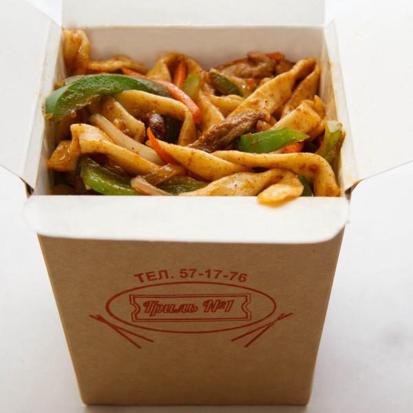 Китайская еда в коробочках: золотистое мясо, домашняя лапша, чудесный соус!